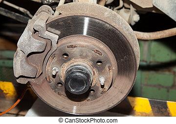 Wheel hub motor car in a repair situation