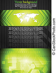 Vector tech background with world map