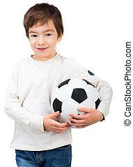 Little boy playing soccer ball - Little boy with soccer ball...