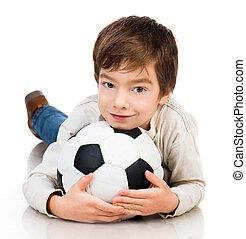 Little boy playing soccer ball - Little boy soccer ball...