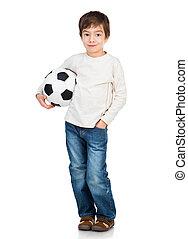 Little boy playing soccer ball - Cute Little boy soccer ball...