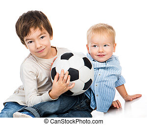 brothers with a soccer ball on a white background