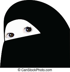 little girl looking under veil, vector