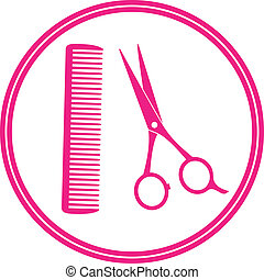 round icon of hair salon with scissors and comb on white...