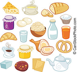Breakfast Set - Breakfast set with various food products
