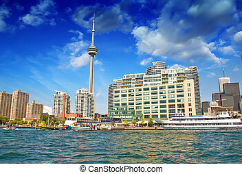 美しい, トロント, オンタリオ,  -, 湖, スカイライン, カナダ