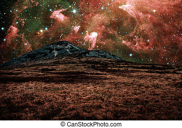 Red alien landscape with mountain in a far away galaxy -...