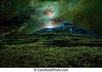 Green alien landscape with mountain in a far away galaxy -...