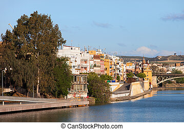 City of Seville in Spain - Traditional apartment houses of...
