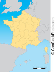 France map - Vector map of France with regions Escale...