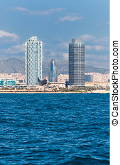 View of Barcelona Towers from the Sea