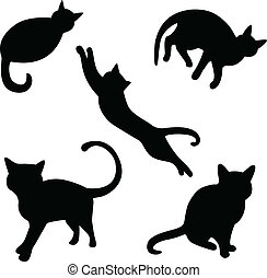 Set of cat silhouettes - Set of vector cat silhouettes