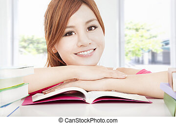 happy student asian girl reading book
