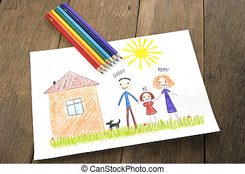 kids drawing happy family near their house picture on the...