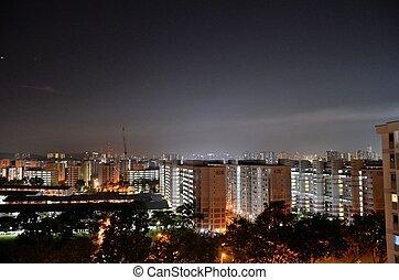 Singapore buildings night skyline - The skyline of western...