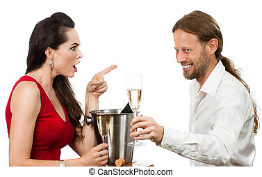 Woman upset with flirting boyfriend