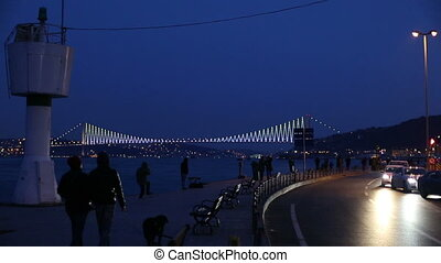 city life at istanbul - Bosphorus Bridgewith city traffic at...