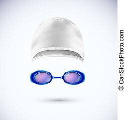 Accessories for swimming cap and glasses Eps 10