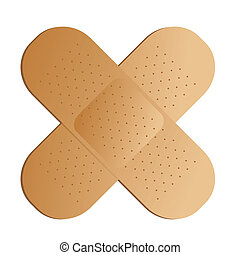 cross band aid - Two illustrated band aids cross with a drop...