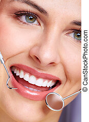 Beautiful woman smile Dental health care clinic