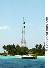 Transmitter mast in Maldives - Tele coms mast in the...