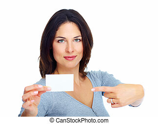 Woman with a card Isolated on white background