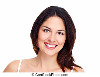 Beautiful woman face Isolated on white background