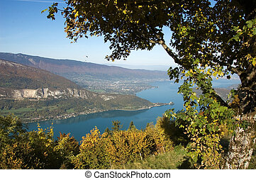 Panorama of annecy lake in France from Forclaz pass with...