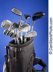 golf clubs in carrying bag