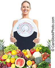 Healthy woman. - Healthy woman with a scales. Weight loss.