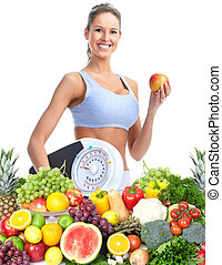 Healthy woman - Healthy woman with a scales Weight loss