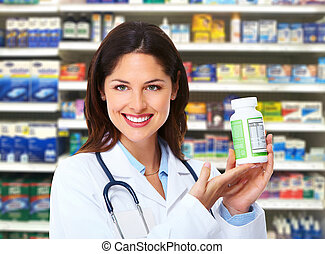 Pharmacist woman. - Medical pharmacist woman at drugstore....