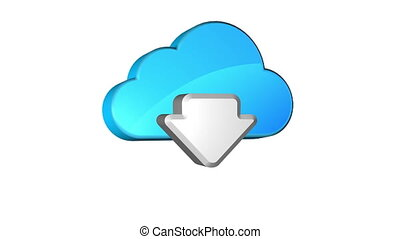 Cloud Download - Icon of downloading data from cloud storage...