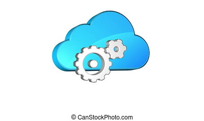 Cloud Setup - Icon of adjusting of cloud storage Seamless...