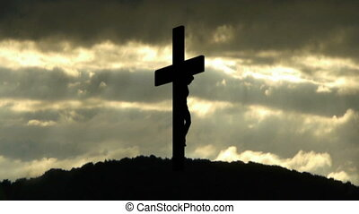 Holy Cross - Silhouette of the Holy Cross on background of...