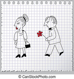 Couple in quarrel - Doodle couple is reconciling after...