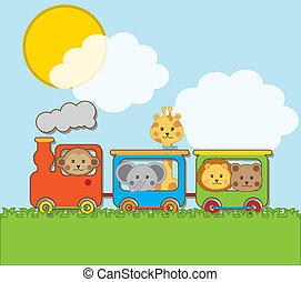 animals - baby animals with train over landscape backgroun ....