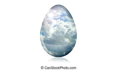 Glass Easter Egg with Clouds