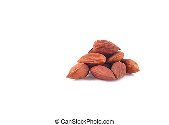 Close up of almonds isolated on white background