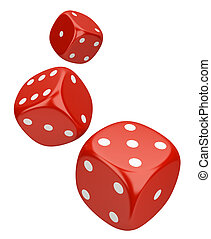 Dice. 3d image. On a white background.