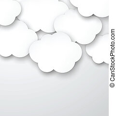 Paper white clouds on grey - Vector abstract background...