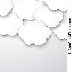 papel, blanco, nubes, gris