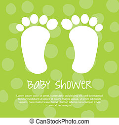 baby shower with foots over green background vector