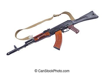 gun wood Kalashnikov rifle isolated on white