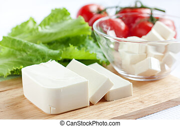 Fresh feta cheese and vegetables - Fresh cheese and...