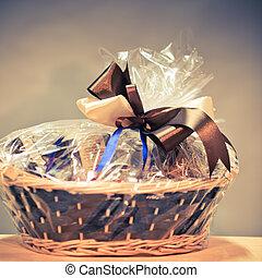 vintage gift basket against blue background