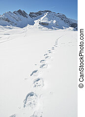 Footsteps on the snow Melchsee-Frutt, Switzerland