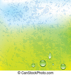 Vector grunge spring background with water drops