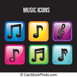 music icons over black background. vector illustration