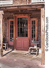 Old West Vintage Saloon Door in a ghost town in California